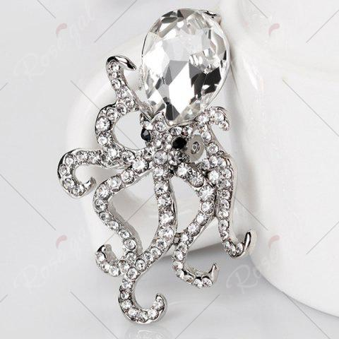 Cheap Octopus Shape Rhinestone Faux Crystal Inlay Brooch - SILVER  Mobile