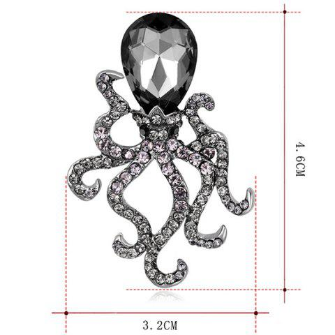 New Octopus Shape Rhinestone Faux Crystal Inlay Brooch - BLACK  Mobile