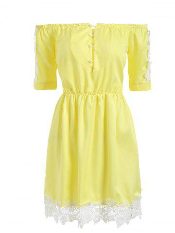 Latest Lace Trim Off The Shoulder A Line Dress YELLOW L