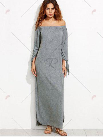 New Off The Shoulder Long Sleeve Shift Maxi Dress - S GRAY Mobile