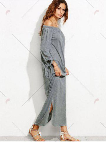 Shop Off The Shoulder Long Sleeve Shift Maxi Dress - S GRAY Mobile