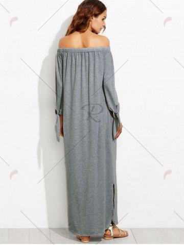 Outfit Off The Shoulder Long Sleeve Shift Maxi Dress - S GRAY Mobile