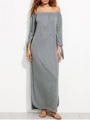 Affordable Off The Shoulder Long Sleeve Shift Maxi Dress GRAY S
