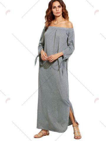 Trendy Off The Shoulder Long Sleeve Shift Maxi Dress - S GRAY Mobile