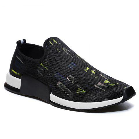 New Color Block Mesh Slip On Athletic Shoes - 40 YELLOW Mobile