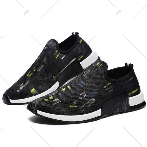 Discount Color Block Mesh Slip On Athletic Shoes - 40 YELLOW Mobile