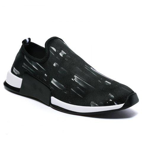 Color Block Mesh Slip On Athletic Shoes - White - 40