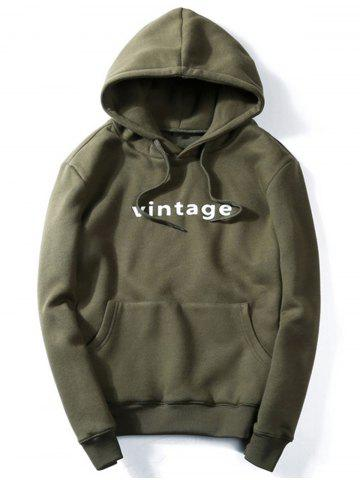 Vintage Graphic Print Hoodie - Army Green - 3xl