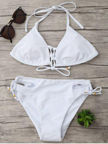 Outfit Halter String Lace-Up Bikini Set - S WHITE Mobile