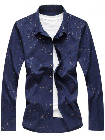 Trendy Allover Printed Long Sleeve Plus Size Shirt - 6XL CADETBLUE Mobile