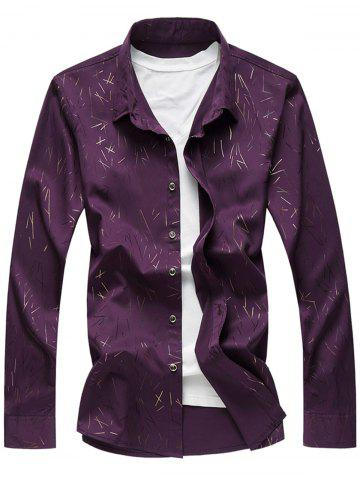 Unique Allover Printed Long Sleeve Plus Size Shirt PURPLE 7XL