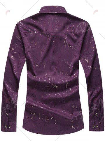 Chic Allover Printed Long Sleeve Plus Size Shirt - 7XL PURPLE Mobile
