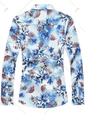 Outfit Long Sleeve Plus Size Floral Shirt - 7XL BLUE Mobile