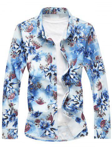 Shop Long Sleeve Plus Size Floral Shirt BLUE 6XL