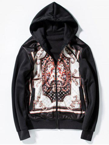 Printed Zip Up Hoodie - Black - 2xl