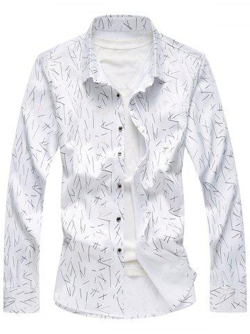 Latest Allover Printed Long Sleeve Plus Size Shirt WHITE 5XL