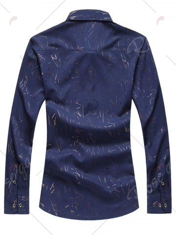 New Allover Printed Long Sleeve Plus Size Shirt - CADETBLUE 7XL Mobile