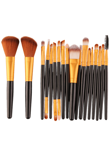 Shop 18Pcs Face Eye Multipurpose Makeup Brushes Kit - BLACK AND GOLDEN  Mobile