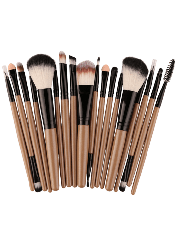 Chic 18Pcs Face Eye Multipurpose Makeup Brushes Kit - KHAKI+BLACK  Mobile
