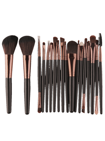 18Pcs Face Eye Multipurpose Makeup Brushes Kit - Black Brown