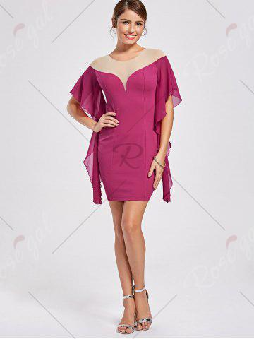 Discount Panel Flounce Butterfly Sleeve Bodycon Dress - L SANGRIA Mobile