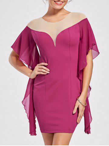 Online Panel Flounce Butterfly Sleeve Bodycon Dress - L SANGRIA Mobile