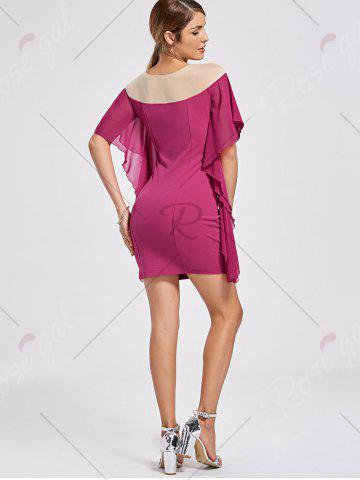 Best Panel Flounce Butterfly Sleeve Bodycon Dress - L SANGRIA Mobile
