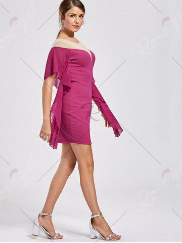 Hot Panel Flounce Butterfly Sleeve Bodycon Dress - L SANGRIA Mobile