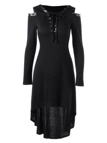 Unique Hooded Lace Up Cold Shoulder Dress BLACK M