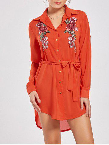 Long Sleeve Embroidered Mini Shirt Dress - Orange - S