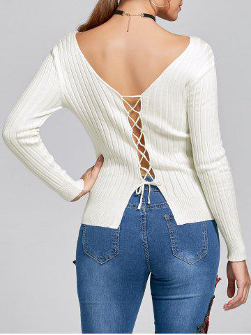 Lace Up V Neck Ribbed Knit Top