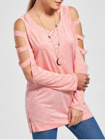 Outfits Ladder Cutout Heather Long Sleeve Top ORANGEPINK L