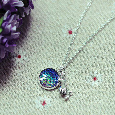 Sparkly Mermaid Scales Pendant Necklace - 11#