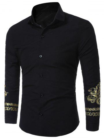 Trendy Floral Trim Long Sleeve Shirt - XL BLACK Mobile