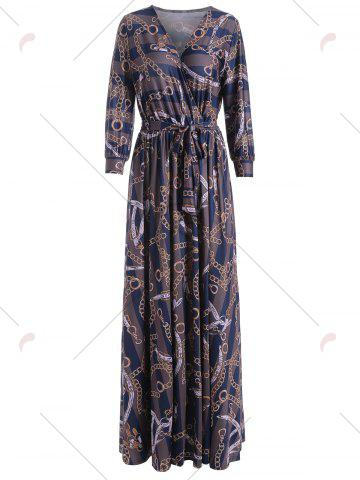 Buy Plunging Neck Chain Print Striped Surplice Maxi Dress - S BLUE Mobile