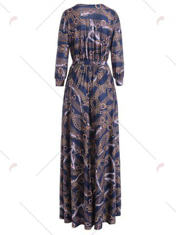 Hot Plunging Neck Chain Print Striped Surplice Maxi Dress - S BLUE Mobile