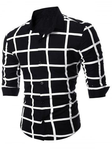 Geometric Grid Checkered Long Sleeve Shirt - Black - M