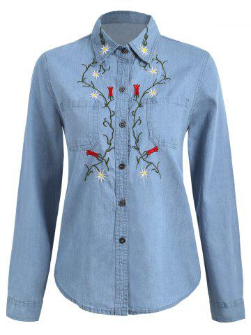Floral Embroidered Chambray Shirt - Denim Blue - L