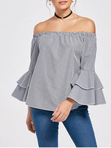Online Off The Shoulder Flare Sleeve Flounce Plaid Top COLORMIX S