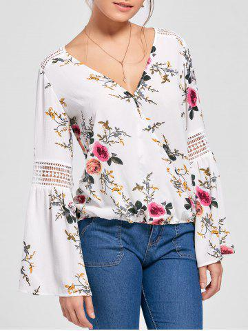 Shop Floral Flare Sleeve Blouse WHITE M