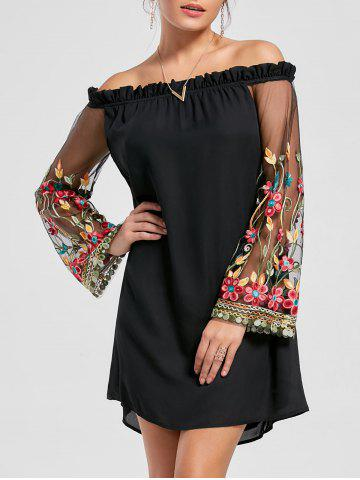 Flare Sleeve Off The Shoulder Embroidery Dress - Black - M