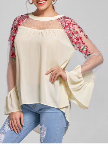 Embroidery Flare Sleeve High Low Blouse - Light Beige - M