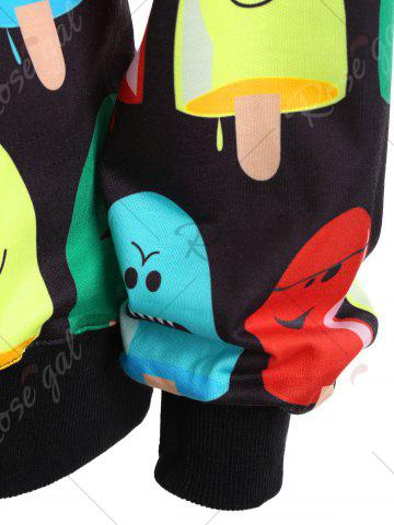 Sale Popsicle Print Round Neck Sweatshirt - ONE SIZE BLACK Mobile