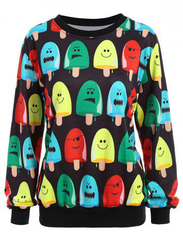 Unique Popsicle Print Round Neck Sweatshirt - ONE SIZE BLACK Mobile