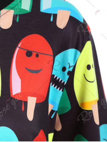 Shops Popsicle Print Round Neck Sweatshirt - ONE SIZE BLACK Mobile