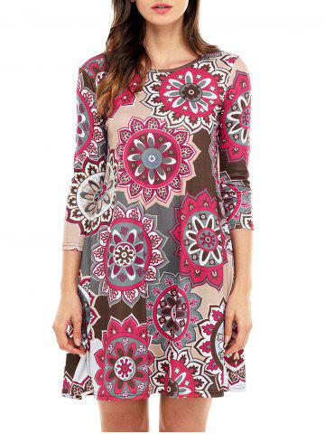 Ethnic Flare Floral Print Dress - Brown - S
