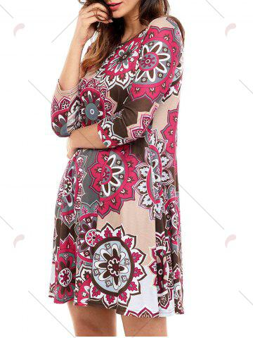 Discount Ethnic Flare Floral Print Dress - S BROWN Mobile