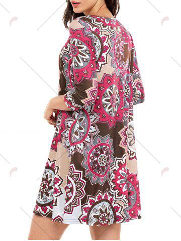 Outfits Ethnic Flare Floral Print Dress - S BROWN Mobile