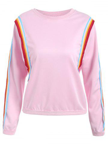 Shops Striped Panel Long Sleeve Sweatshirt - ONE SIZE PINK Mobile