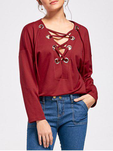 Best Drop Shoulder Lace Up Long Sleeve Top